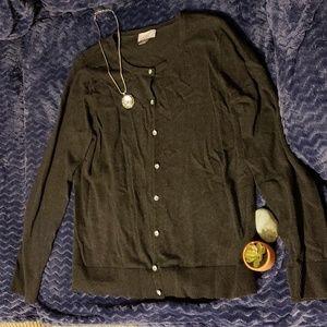 Loft charcoal gray cardigan with rhinestone button